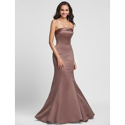 Lace-up Mermaid Floor-length Brown Formal Dresses Sexy Strapless Long Party Dress