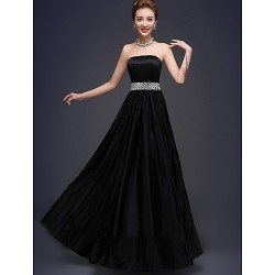 Amazing Black Long Chiffon Bridesmaid Dresses Floor-length Strapless Beaded Party Dress