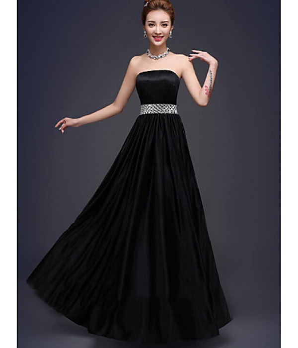 Amazing Black Long Chiffon Bridesmaid Dresses Floor-length Strapless Beaded Party Dress Formal Dresses Australia
