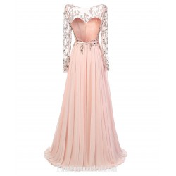 Pink Floor-Length Luxury Beaded Formal Dress Evening Gown Chiffon Backless Appliques Sweetheart Long Sleeve Prom Dress