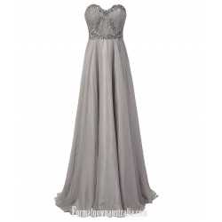 Long Sweetheart Prom Dress Beaded A-line Floor Length Grey Formal Dresses With Long Sleeves