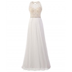 Luxury A-Line Cowl Neck Floor Length WhiteChiffon Formal Dress Prom/Evening Dress With Beading