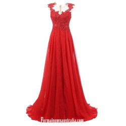 Sexy Red Prom Dresses A Line Gown Lace Up Beaded Backless Elegant Chiffon Long Formal Dress Elegant Gowns