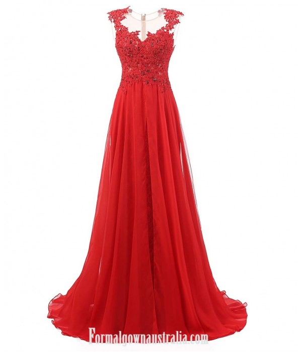 Sexy Red Prom Dresses A-line Gown Lace Up Beaded Backless Elegant Chiffon Long Formal Dress Elegant Gowns Formal Dress Australia