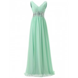 Elegant Long Green Chiffon Form Gown A-Line V-neck Floor Length V-neck Prom/Evening Dress With Beading