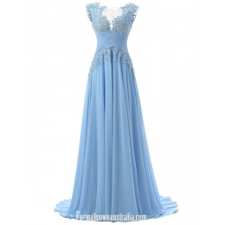 A-line Scoop Sweep Train Long Formal Dress Sleeveless Light Blue Chiffon Prom/Evening Dress With Appliques