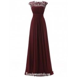 Long A-line Prom/Evening Dress - Floor-Length Burgundy Chiffon Formal Desses Bateau Neck Sweep Train Beading