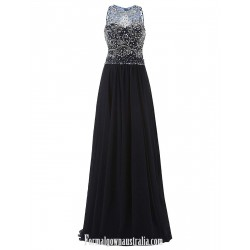 Luxury Chiffon Long Formal Dress A-line Cowl Neck Floor Length Dark Navy Prom/Evening Dress With Beading