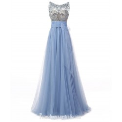 Elegant Long Sky Blue Tulle Formal Dresses A-line Scoop Floor Length Prom/Evening Dress With Beading