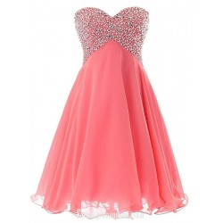 Pink Short Sweetheart Cocktail Dresses Sexy Prom Pageant Dress Beaded Chiffon Homecoming Lace Up Back
