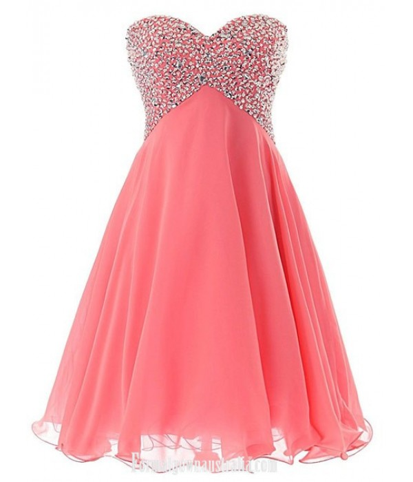 Pink Short Sweetheart Cocktail Dresses Sexy Prom Pageant Dress Beaded Chiffon Homecoming Lace-up back