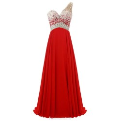 A Line One Shoulder Long Red Chiffon Evening Gown Floor Length Prom Party Dress With Beading