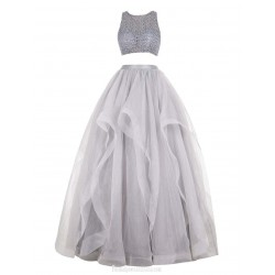 Floor Length Two-pieces Silver Prom/Evening Dress Grey A-Line Cowl Neck Beading Luxury Dress