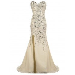 Luxury Long Mermaid Sweetheart Party Dresses Floor Length Chiffon Beading Champagne Prom Evening Gowns