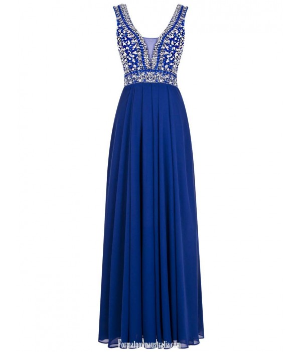 A-line Straps Long Prom Dresses With Beading Floor Length Chiffon Royal Blue Prom/Evening Dress