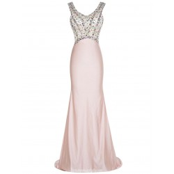 Luxury Elegant Scoop Pink Prom Dress With Beading Long Train Mermaid/Trumpet Formal Evening Gown
