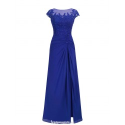 Floor Length Royal Blue Chiffon Prom Dress With Beading Sexy Sleeveless V Back Long Evening Gown