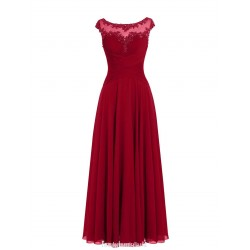 A-line Long Red Prom Dress Elegant Floor Length Sleeveless Beaded Evening Gown