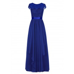 Floor Length Elegant Royal Blue Prom Dress Long Sexy Sleeveless Evening Party Gown