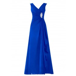 Long Chiffon Evning Dresses With Rhinestone V-neck A-line Royal Blue Prom/Party Dress