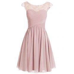 A-line Scoop Mini Pink Short Prom/Homecoming Dress With Cap Sleeves