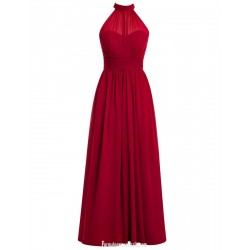 Long Evening Dress With Halter Neck Elegant A-line Floor-Length Red Chiffon Prom Gown
