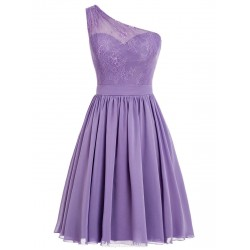 Sexy Short Party Dresses One Shoulder Chiffon Short Purple Prom Homecoming Dress
