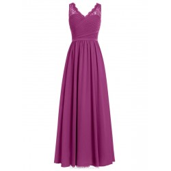Floor Length A-line V-neck Bridesmaid Dresses Long Grape Prom/Party Dress With Ruffles