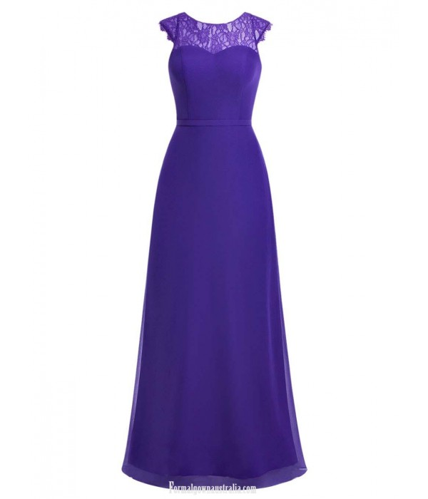 Long Chiffon Bridesmaid Dresses Cap Sleeves A-Line Scoop Floor Length Blue Prom/Evening Gown