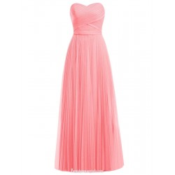 Floor Length Chiffon Bridesmaid Elegant Sweetheart A-line Long Coral Prom Dress Party Gown