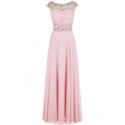 Long Pink Prom Dress With Cap Sleeves Floor Length A-line Scoop Pary Dress With Beaded