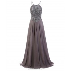 Floor Length Luxury Spaghetti Straps Grey Prom Long A-Line Evening Gown With Beading