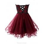 Sex Short Cocktail Dresses Tulle Sweetheart Evening Party Dress Lace-Up Cocktail Dresses