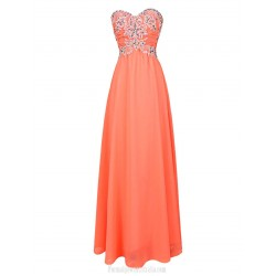 Floor Length Chiffon Bridesmaid Dresses With Beaded Long Sweetheart Chiffon Evening Gown