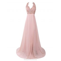 Luxury Trailing A-Line Pink Evening Gowns Halter V-neck Prom Dress With Beaded