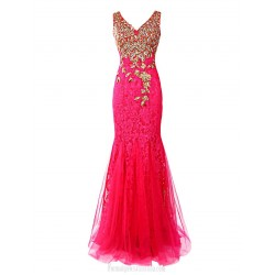 Floor Length Luxury Mermaid V-neck Evening Formal Gowns Lace Long Fuchsia Prom Dress With Embroidery