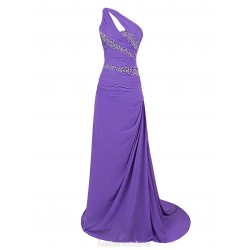 Trailing One Shoulder A Line Chiffon Sleeveless Prom Dress With Beading