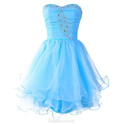 Sky Blue Tulle Cocktail Dress Sweetheart Beading Short Prom Gown