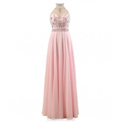 Floor Length A-line Chiffon Party Dresses Halter Junior BridesMaid Dress With Beading