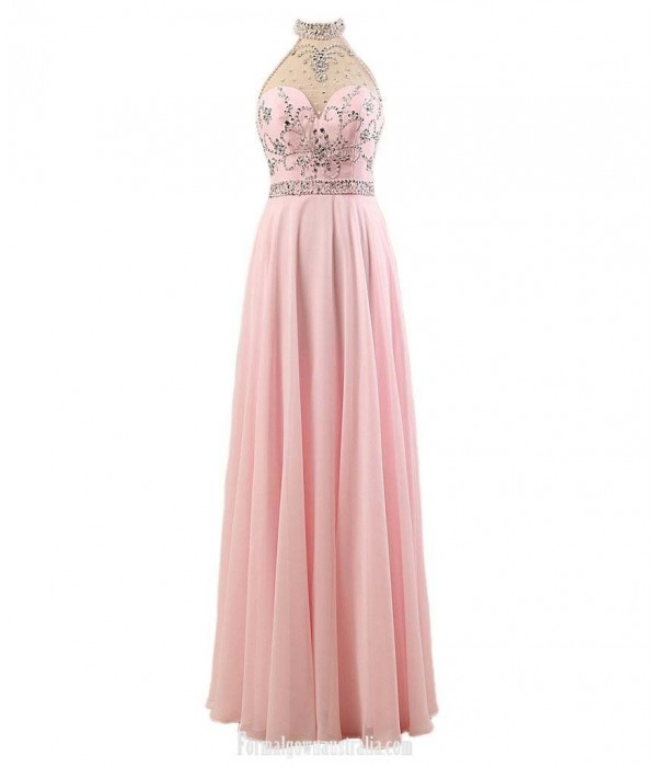 Floor Length A-line Chiffon Party Dresses Halter Junior BridesMaid Dress With Beading Prom Dresses