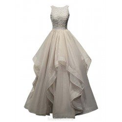 Floor Length Lace Prom Dress Luxury Unusual Beaded Organza Gown With Backless
