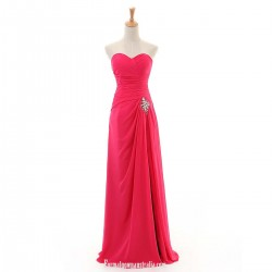 A Line Red Sweetheart Floor Length Strapless Split Chiffon Beaded Evening Party Dresses