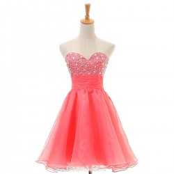 Short Pink Short Prom Ball Gown Sweetheart Tulle Cocktail Dress Knee-Length Beading Homecoming Dresses