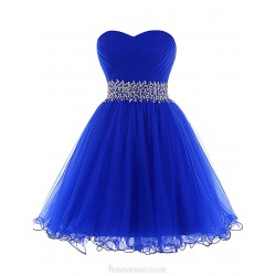 Short Tulle A-line Cocktail Cute Sweetheart Beaiding Royal Blue Prom Gown Lace Up