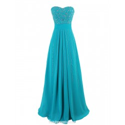A-line Floor Length Prom Gown Sweetheart Blue Chiffon Evening Dress With Beading