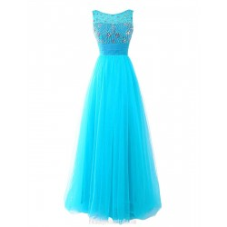 A Line Floor Length Scoop Straps Sleeveless Tulle Long Prom Dress With Beading