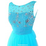 A-line Floor Length Scoop Straps Sleeveless Tulle Long Prom Dress With Beading