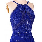 Aline Floor Length Chiffon Prom Dress Open Back Long Halter Blue Evening Gown with Beading