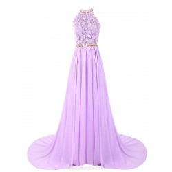 Luxury A Line Trailing Evening Dress Long Halterneck Chiffon Prom Dress With Flower Party Dress With Embroidery