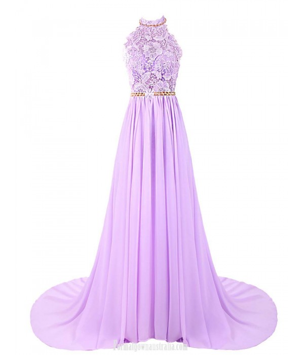 Luxury A-line Trailing Evening Dress Long Halterneck Chiffon Prom Dress With Flower Party Dress with Embroidery